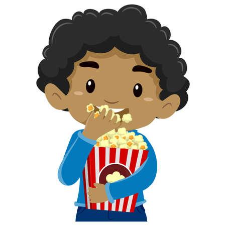 friends having fun: Illustration of a Boy Eating Popcorn
