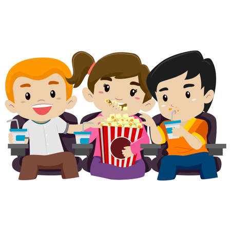 watching movie: Illustration of Kids Watching Movie while Eating Popcorn Illustration