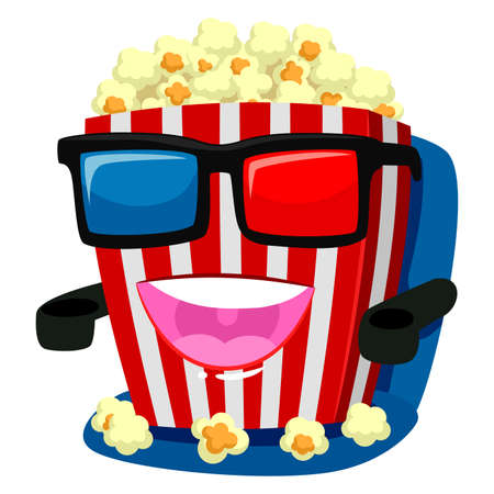 making a face: Illustration of Popcorn Mascot wearing 3d Glass