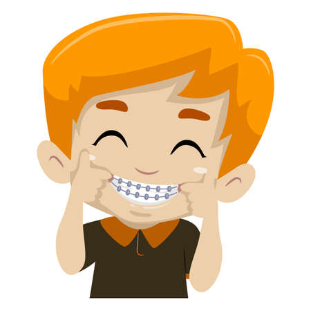 Vector Illustration of Kid Boy showing his Braces