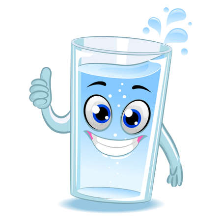 Vector Illustration of Glass of Water Mascot doing ok hand sign Ilustração