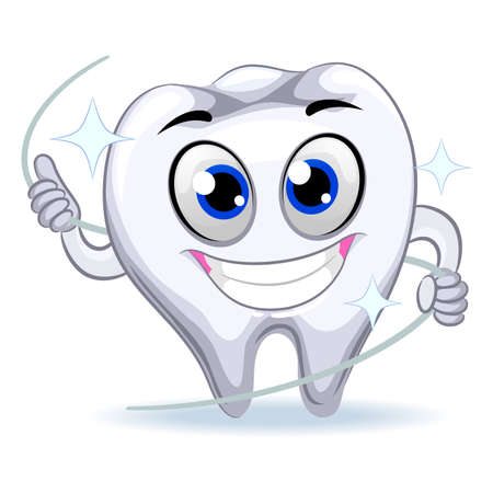 tooth mascot: Vector Illustration of Tooth Mascot holding Dental Floss