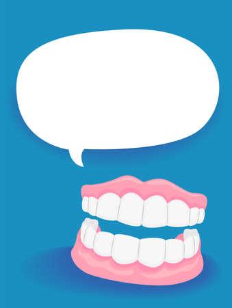 Illustration Vecteur de dentiers avec Blank Speech Bubble