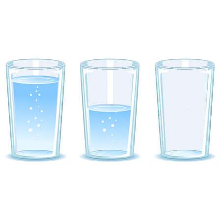 acqua vetro: Illustrazione vettoriale di Set di vetro di acqua