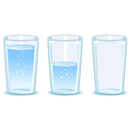 Vector Illustration of Set Glass of water