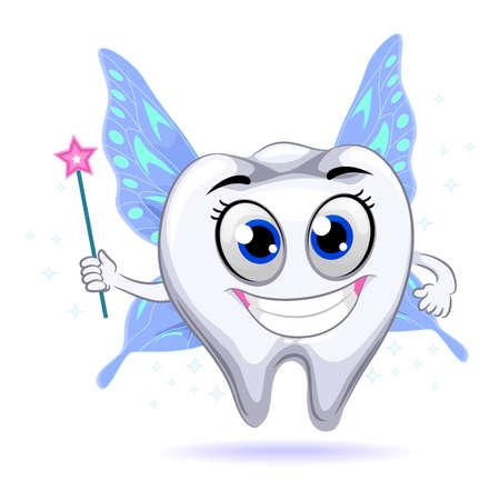 Vector Illustration of Tooth Mascot Fairy Vettoriali