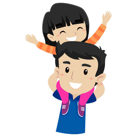 dad and son: Vector Illustration of Kid and Father doing Piggy Back Ride Illustration