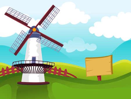 Vector Illustration of Windmill on Field
