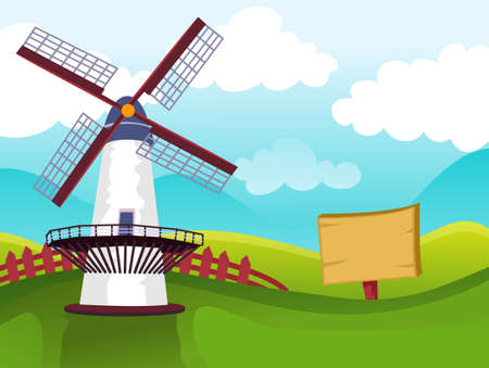 prolific: Vector Illustration of Windmill on Field