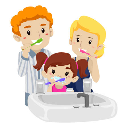 smiles teeth: Vector Illustration of Family Brushing their Teeth