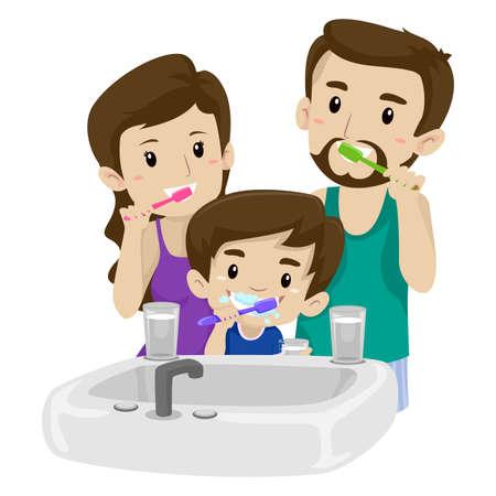 Vector Illustration of Asian Family Brushing their Teeth