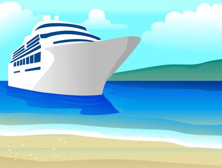 Vector Illustration of Ship on the Beach