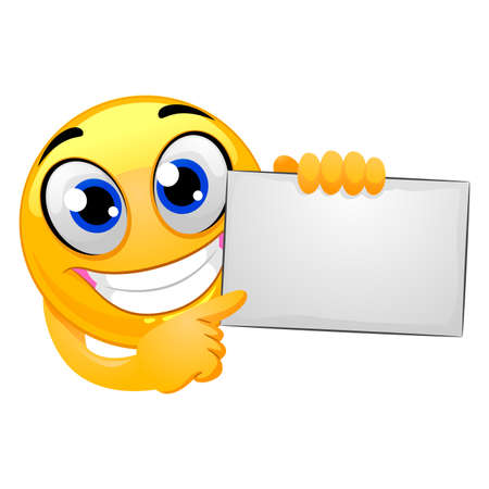Vector Illustration of Smiley Emoticon Holding Blank Board Ilustração