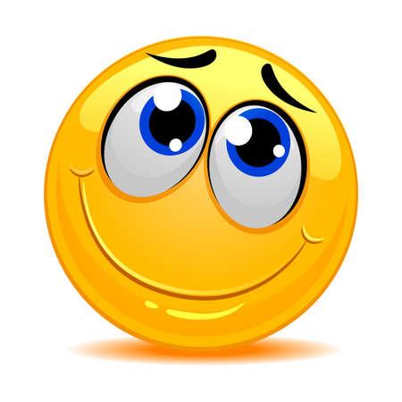 timid: Vector Illustration of Smiley Emoticon Feeling Shy Illustration