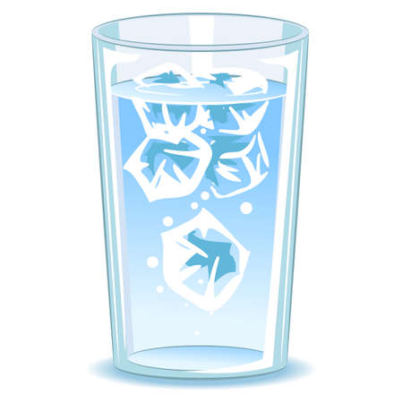 gulp: Vector Illustration of Glass of water with ice