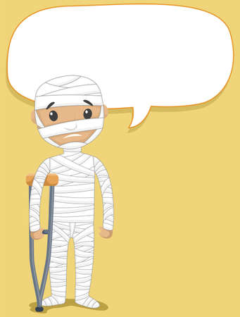 Vector Illustration of Speaking Patient Body Covered with Bandages