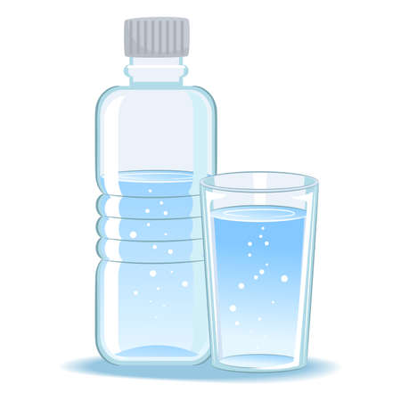 Vector Illustration of Glass and Bottled Water
