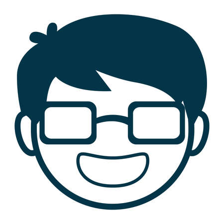 nerdy: Vector Illustration of Avatar Man Face with Glasses Illustration