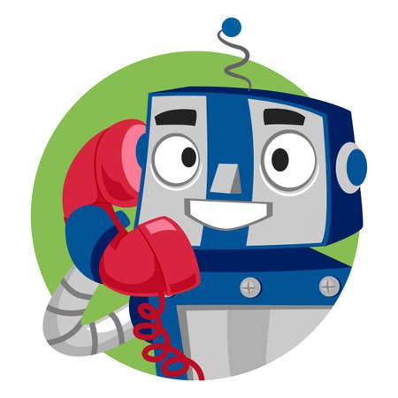 talking robot: Vector Illustration of Robot talking on Phone