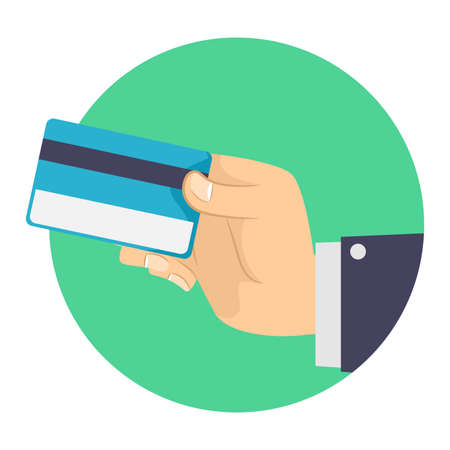 man holding card: Vector Illustration of Business Man holding a Blank Credit Card