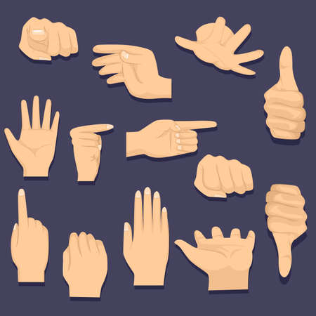 pinching: Vector Illustration of Different Hand Gesture on Black Background