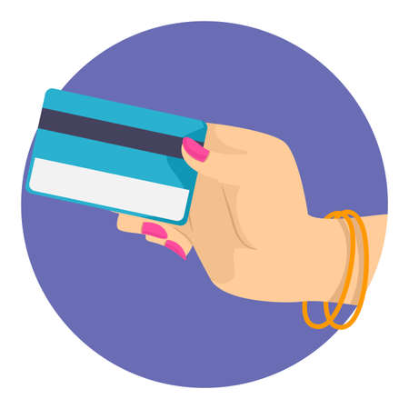 bangles hand: Vector Illustration of Woman Hand holding a Blank Credit Card