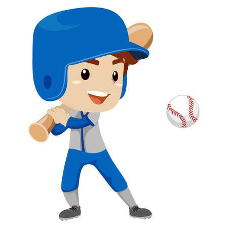Vector Illustration of Baseball Player Kid Boy hit the Ball