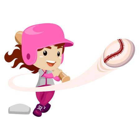 Vector Illustration of Baseball Player hit the Ball Illustration
