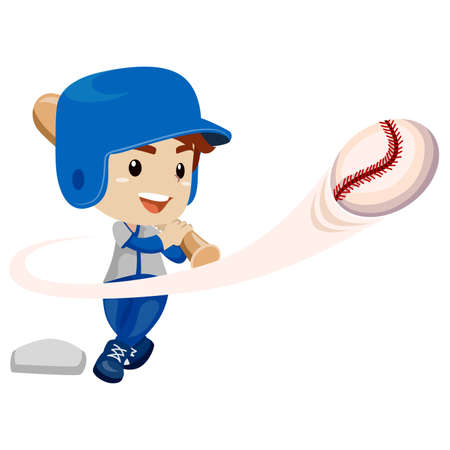 baseman: Vector Illustration of Baseball Player Kid Boy Hit the ball