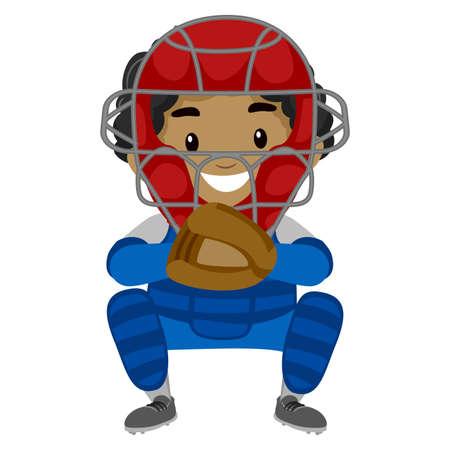 Vector Illustration of a Kid Boy Baseball Player Catcher
