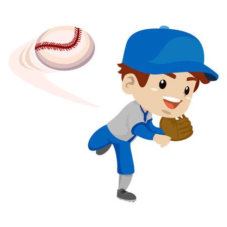 Illustration Vecteur de Kid Boy Joueur de baseball lancer la balle