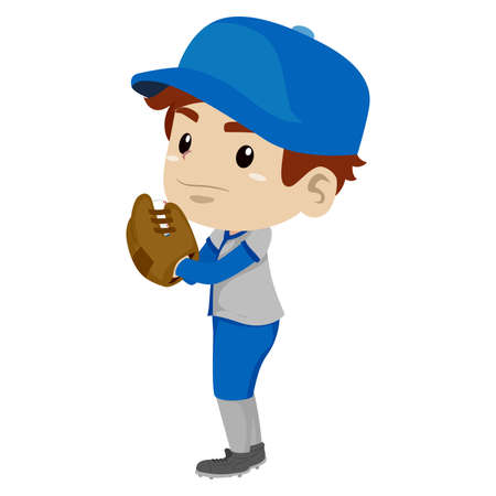 overhand: Vector Illustration of a Kid Boy Baseball Player Pitcher