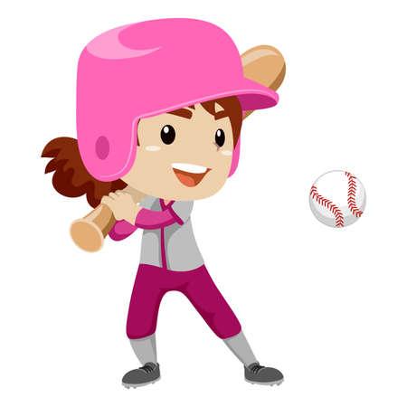 Vector Illustration of a Kid Girl Baseball Player Strike a Ball