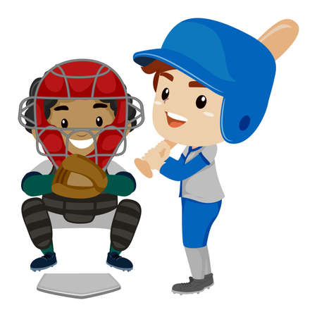baseman: Vector Illustration of Two Kids as Baseball Player