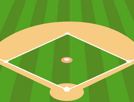 Vector Illustration of Baseball Field as Background