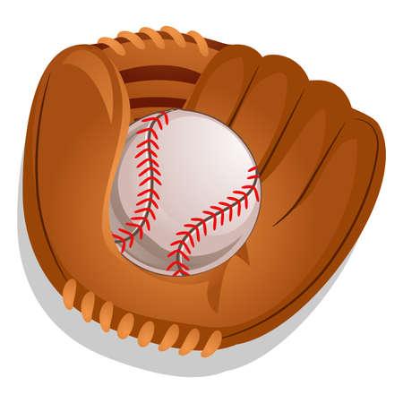 fastball: Vector Illustration of Baseball Gloves with Ball Illustration