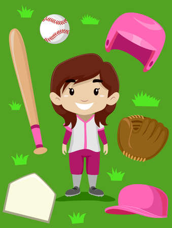 pincher: Vector Illustration of Baseball Player Girl Elements