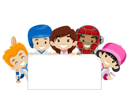 Ilustración del vector de los jugadores de béisbol que sostiene una bandera