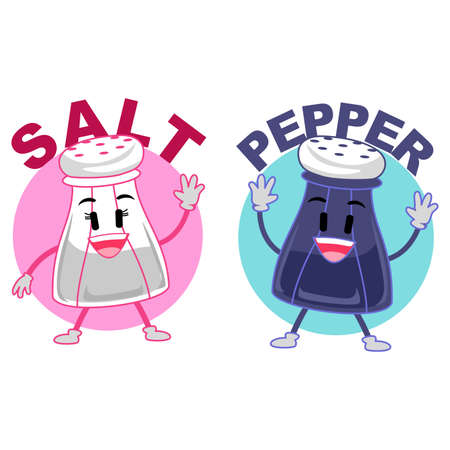 Vector Illustration of a Salt and Pepper Mascot