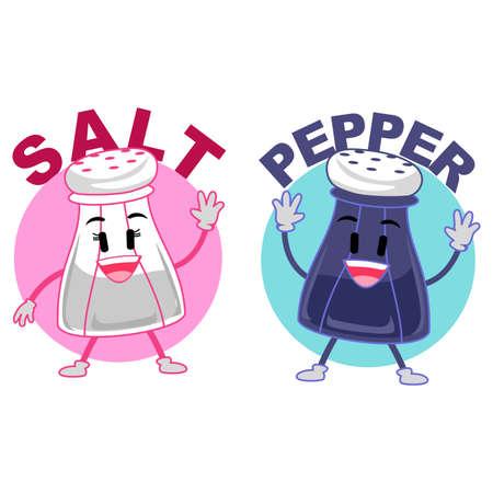 Vector Illustration of a Salt and Pepper Mascot