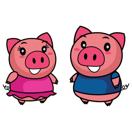 Vector Illustration of Male and Female Pigs
