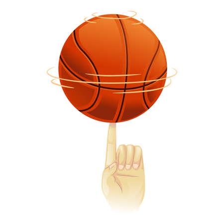 showoff: Vector Illustration of Basketball spinning on top of index finger