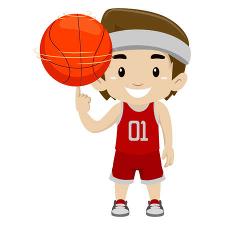 Vector Illustration of a Boy spinning the ball