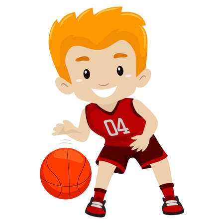 Vector Illustration of a Boy Playing Basketball