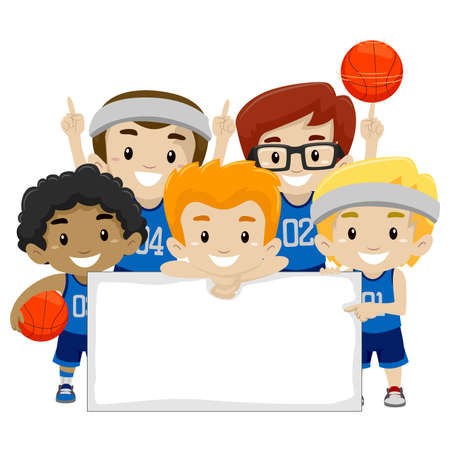 Vector Illustration of Male Basketball Players holding a Blank Board
