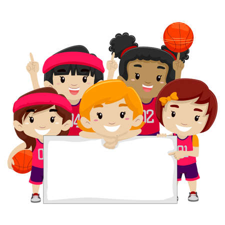 Vector Illustration of Female Basketball Players holding a Blank Board Illustration