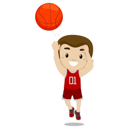 Vector Illustration of a Boy Shooting the Ball