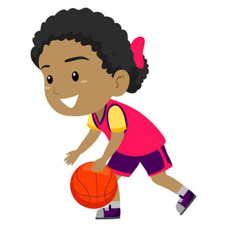 dribbling: Vector Illustration of Girl dribbling the Ball