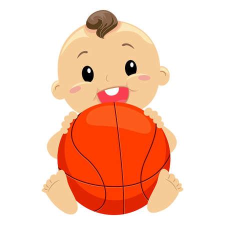 Vector Illustration of Baby Boy holding the Ball Illustration