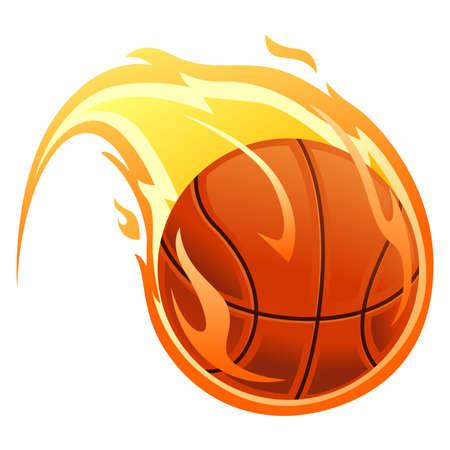 Vector Illustration of Ball on fire Vettoriali